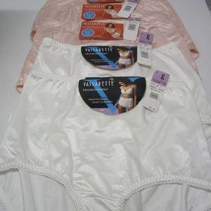 BNWT! 5 Pair White & Pink Vassarette Briefs - XL